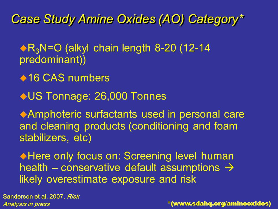 SM The Home of the Cleaning Products and Oleochemical Industries Case Study Amine Oxides (AO) Category*  R 3 N=O (alkyl chain length 8-20 (12-14 pred