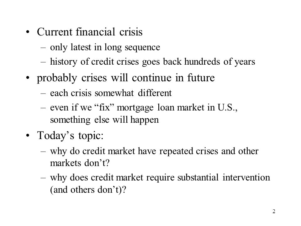 3 Why is credit market different.