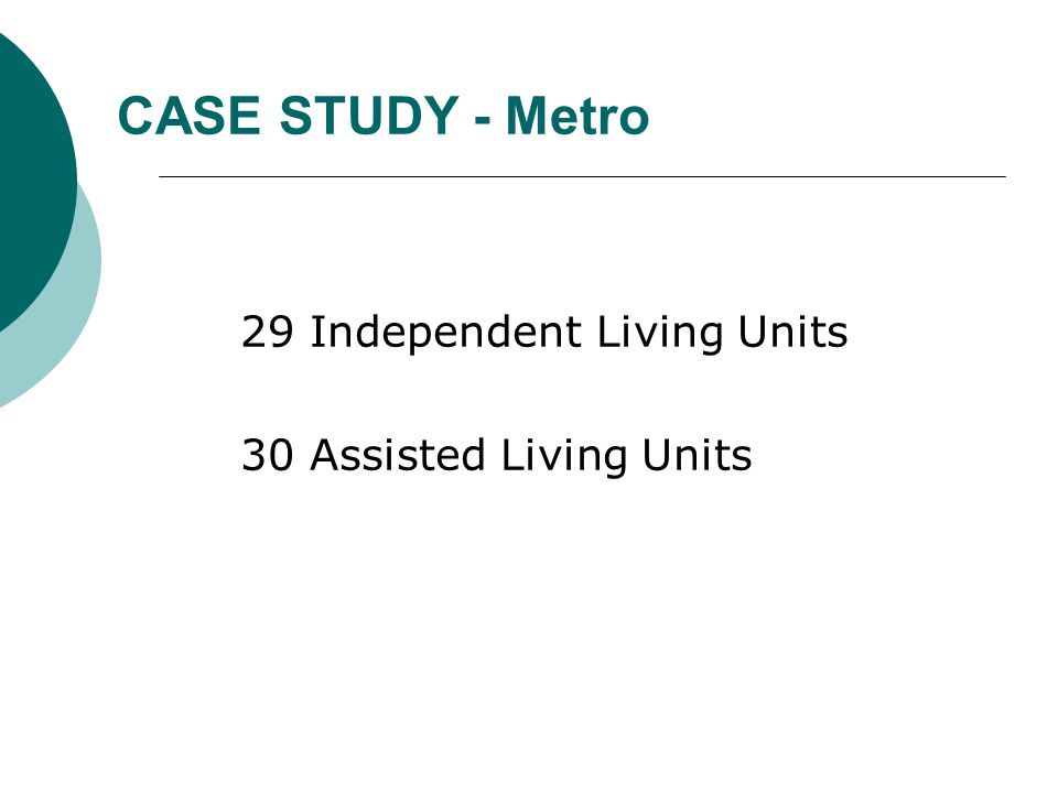CASE STUDY - Metro 29 Independent Living Units 30 Assisted Living Units