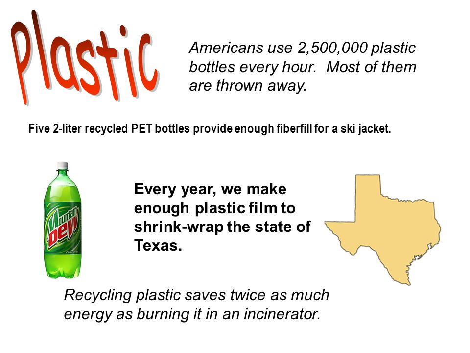 Five 2-liter recycled PET bottles provide enough fiberfill for a ski jacket.