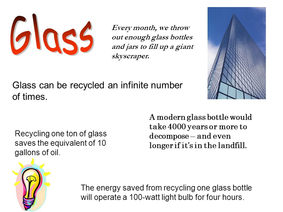 The energy saved from recycling one glass bottle will operate a 100-watt light bulb for four hours.