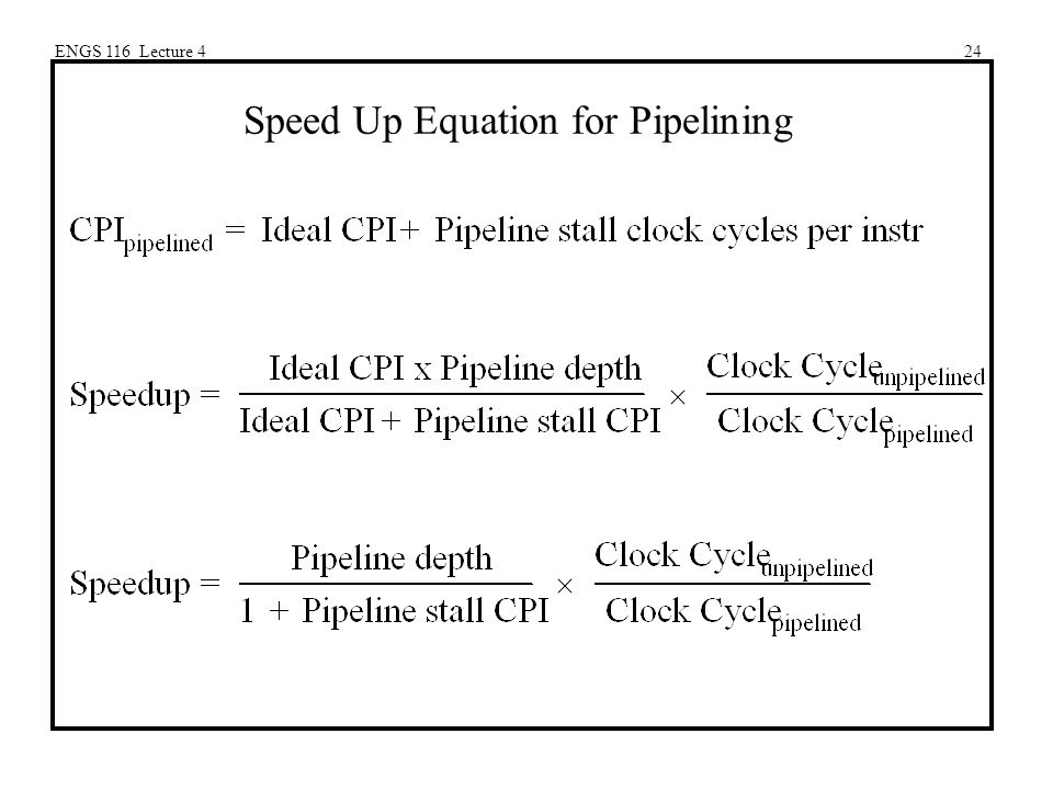 ENGS 116 Lecture 424 Speed Up Equation for Pipelining