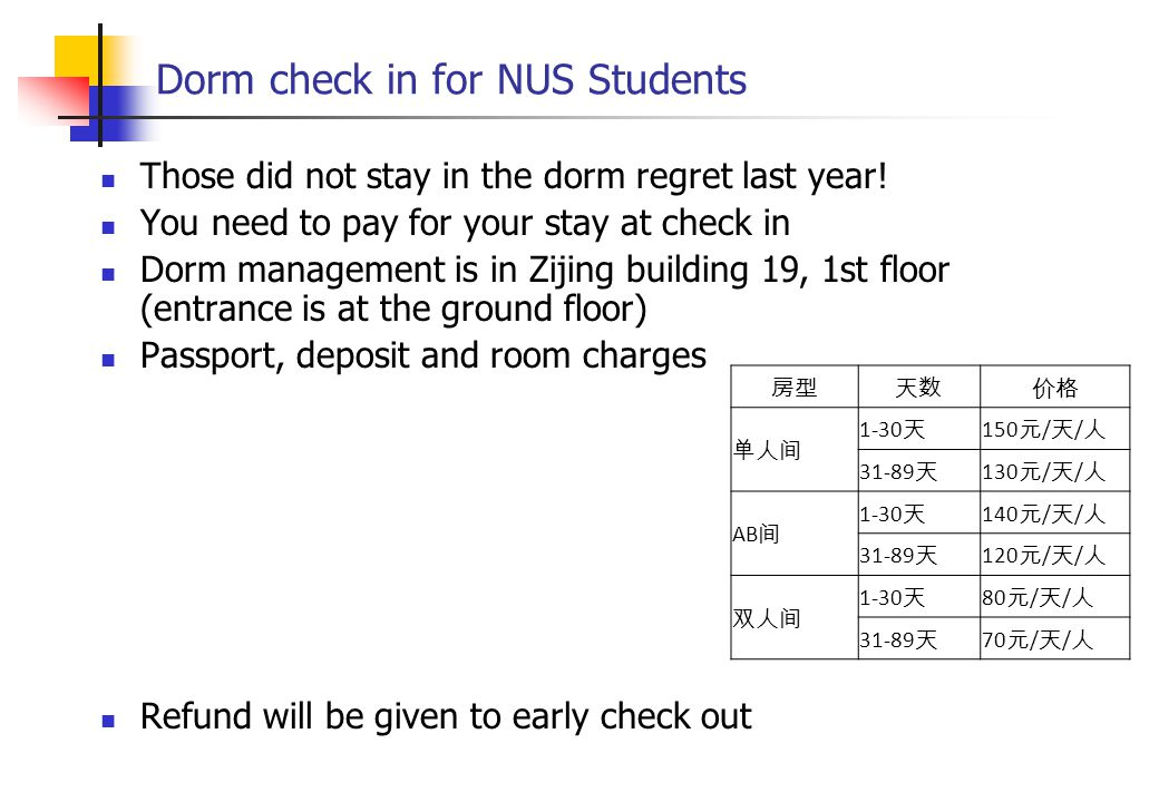 Dorm check in for NUS Students Those did not stay in the dorm regret last year.