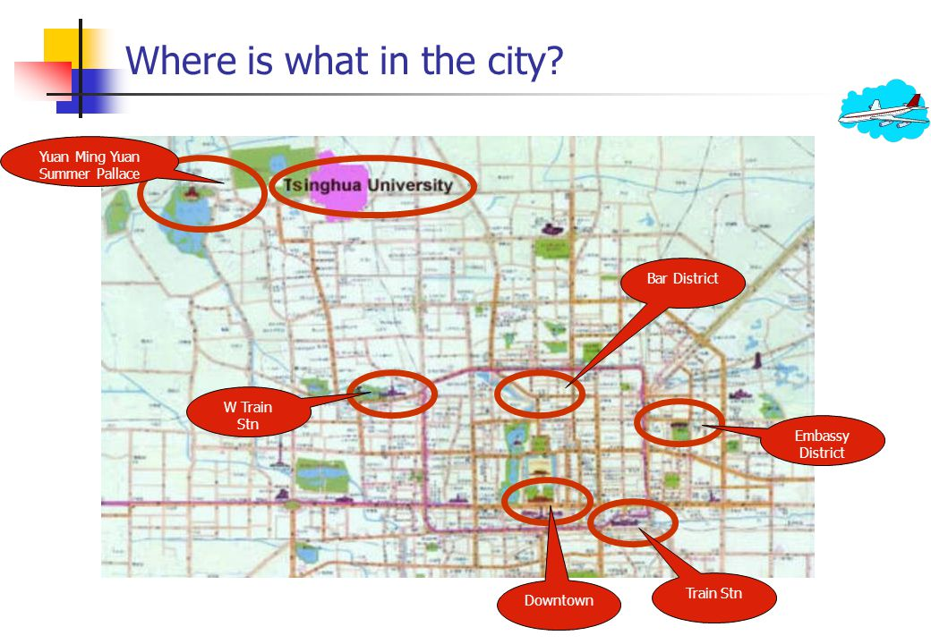 Where is what in the city.