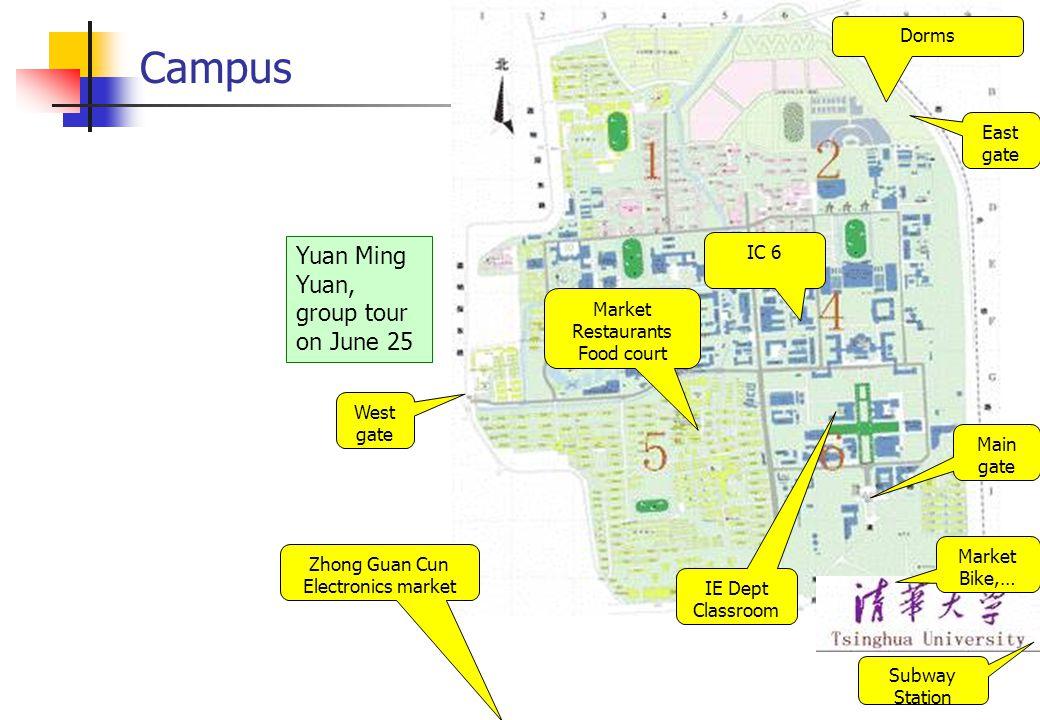 Northern campus Northeast Gate Dorm mgt IC #6 Classroom 6A 309 Canteen Dorm Canteens Qing Qing Pizza Market Convenience, food, phone, …