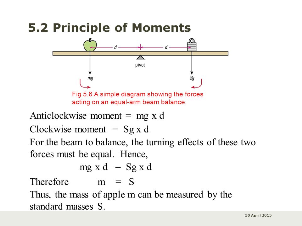 30 April 2015 5.2 Principle of Moments Fig 5.6 A simple diagram showing the forces acting on an equal-arm beam balance.