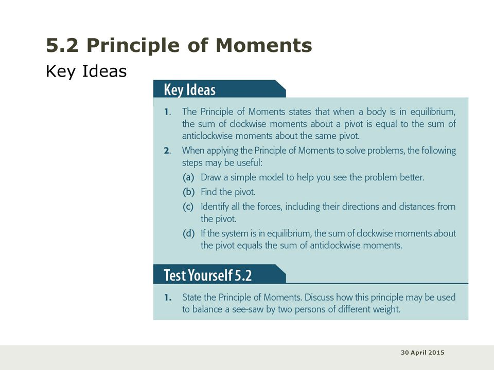 30 April 2015 5.2 Principle of Moments Key Ideas