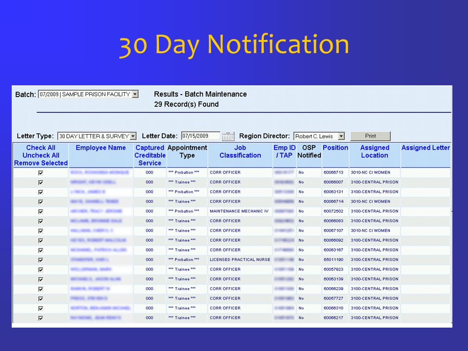 30 Day Notification