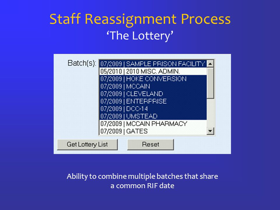 Staff Reassignment Process 'The Lottery' Ability to combine multiple batches that share a common RIF date