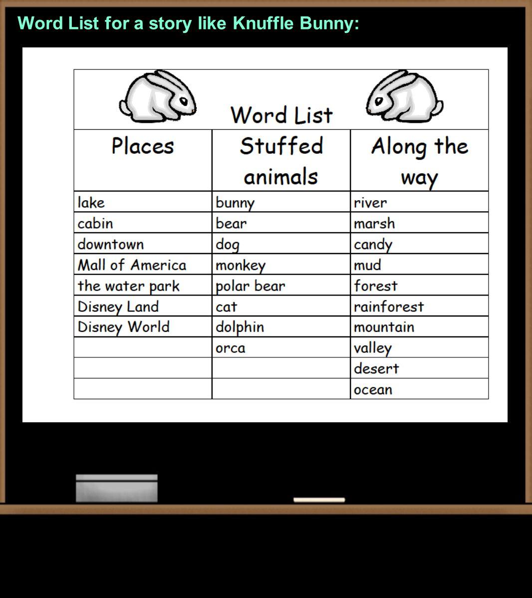 Word List for a story like Knuffle Bunny: