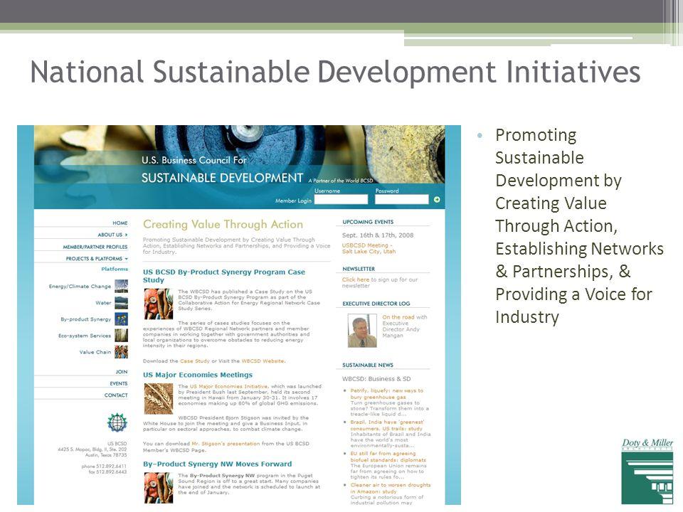 National Sustainable Development Initiatives Promoting Sustainable Development by Creating Value Through Action, Establishing Networks & Partnerships,