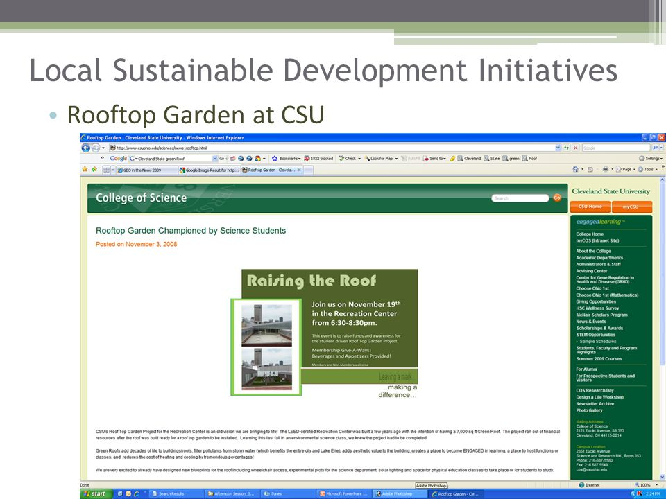 Local Sustainable Development Initiatives Rooftop Garden at CSU
