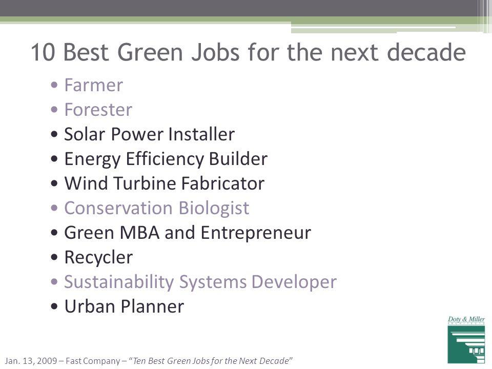10 Best Green Jobs for the next decade Farmer Forester Solar Power Installer Energy Efficiency Builder Wind Turbine Fabricator Conservation Biologist