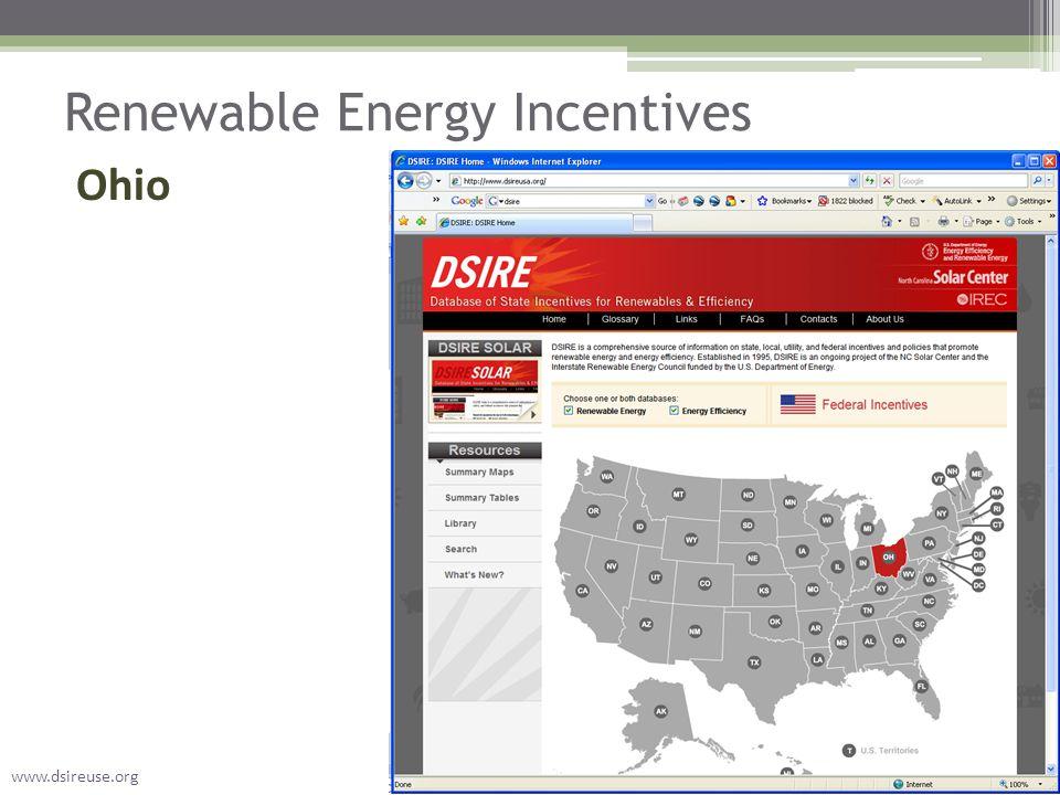 Renewable Energy Incentives Ohio www.dsireuse.org