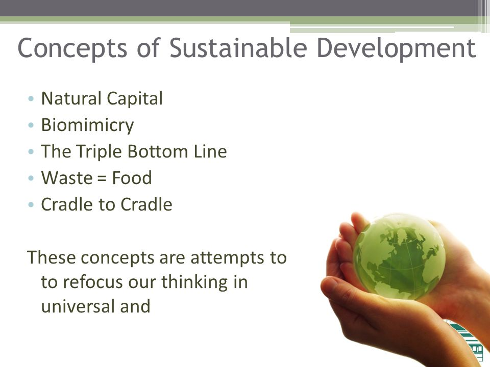 Concepts of Sustainable Development Natural Capital Biomimicry The Triple Bottom Line Waste = Food Cradle to Cradle These concepts are attempts to get