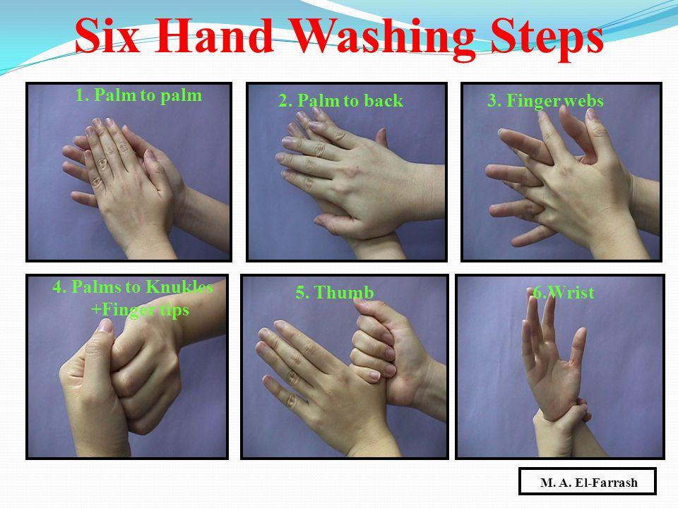 1. Palm to palm 2. Palm to back3. Finger webs 4. Palms to Knukles +Finger tips 5. Thumb6.Wrist Six Hand Washing Steps M. A. El-Farrash
