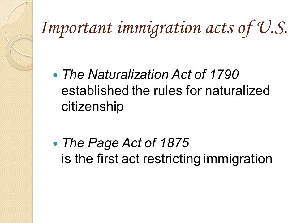 Important immigration acts of U.S.