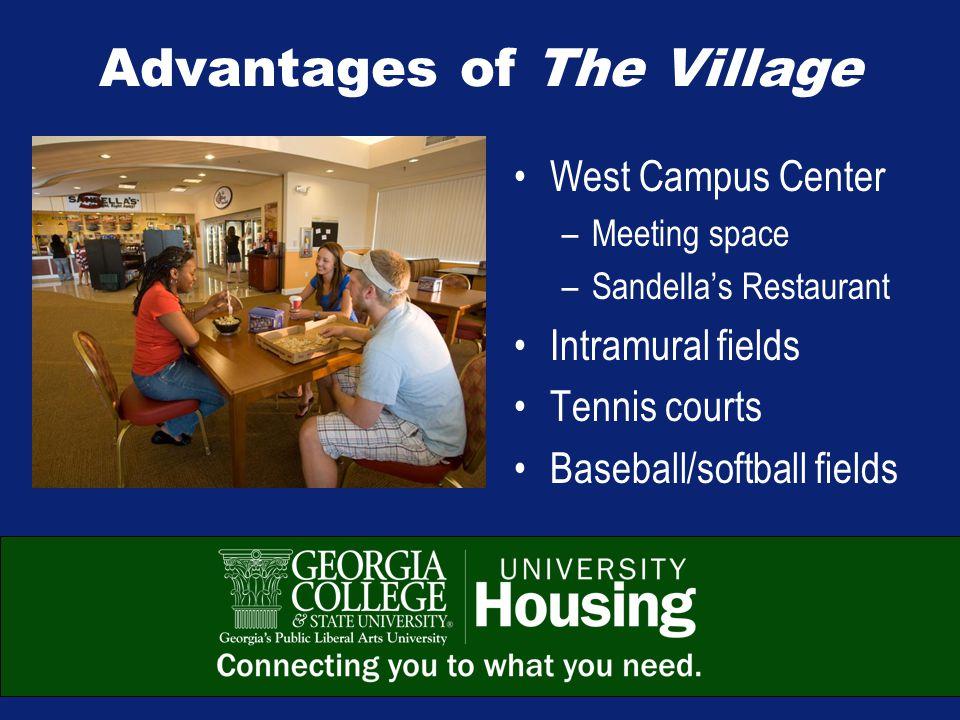 Advantages of The Village West Campus Center –Meeting space –Sandella's Restaurant Intramural fields Tennis courts Baseball/softball fields