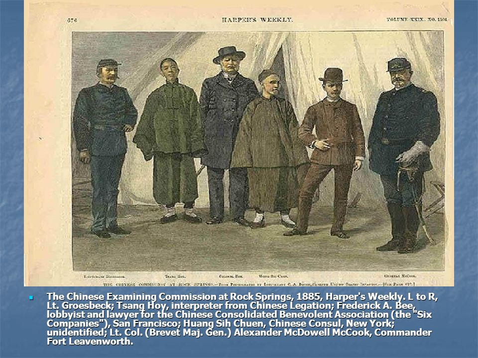 The Chinese Examining Commission at Rock Springs, 1885, Harper's Weekly. L to R, Lt. Groesbeck; Tsang Hoy, interpreter from Chinese Legation; Frederic