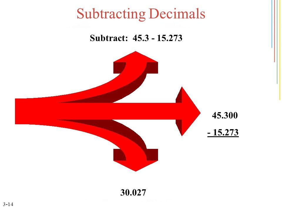 3-14 Subtracting Decimals Subtract: 45.3 - 15.273 45.300 - 15.273 30.027