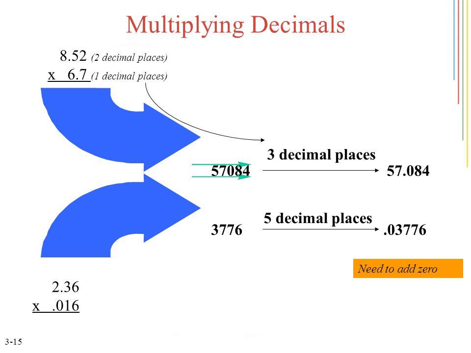 3-15 Multiplying Decimals 2.36 x.016 5708457.084 3 decimal places 3776.03776 5 decimal places 8.52 (2 decimal places) x 6.7 (1 decimal places) Need to add zero
