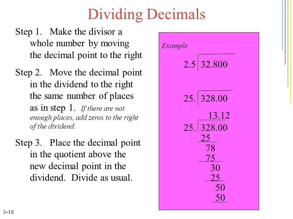 3-16 Dividing Decimals Step 1.
