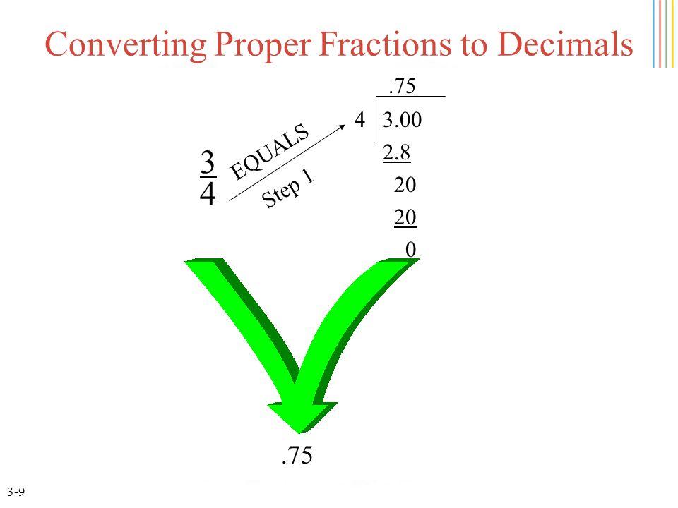3-9 Converting Proper Fractions to Decimals 3434 4 3.00 2.8 20 0.75 EQUALS.75 Step 1