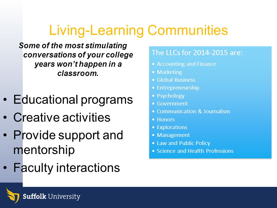 Living-Learning Communities Some of the most stimulating conversations of your college years won't happen in a classroom.