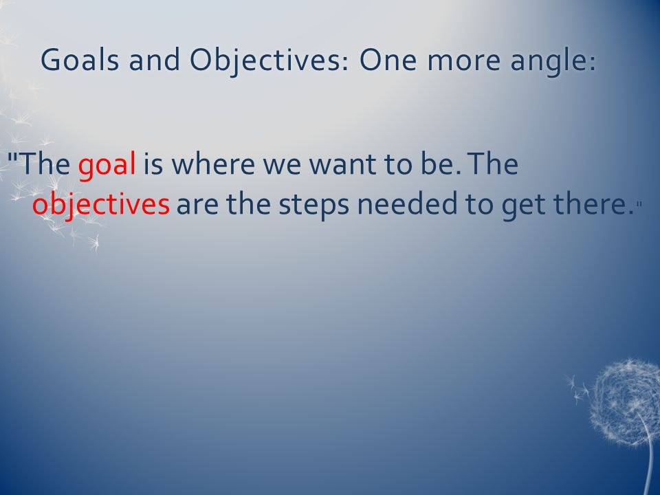 Goals and Objectives: One more angle:Goals and Objectives: One more angle: The goal is where we want to be.