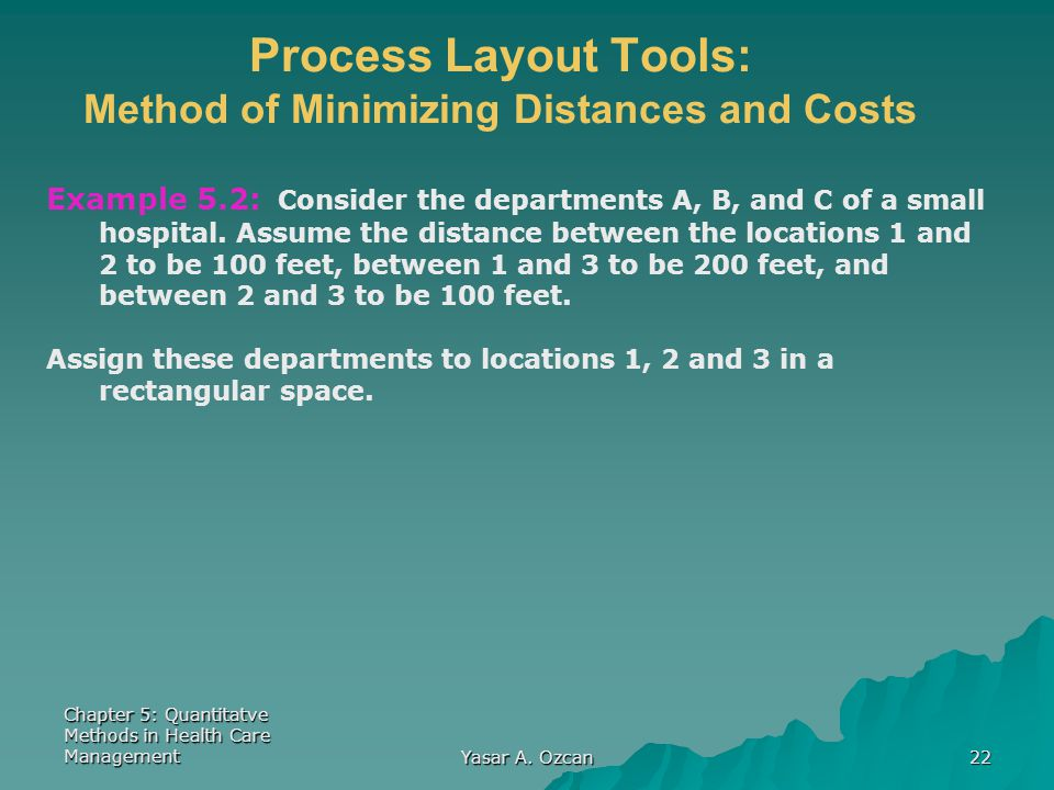 Chapter 5: Quantitatve Methods in Health Care Management Yasar A. Ozcan 22 Process Layout Tools: Method of Minimizing Distances and Costs Example 5.2: