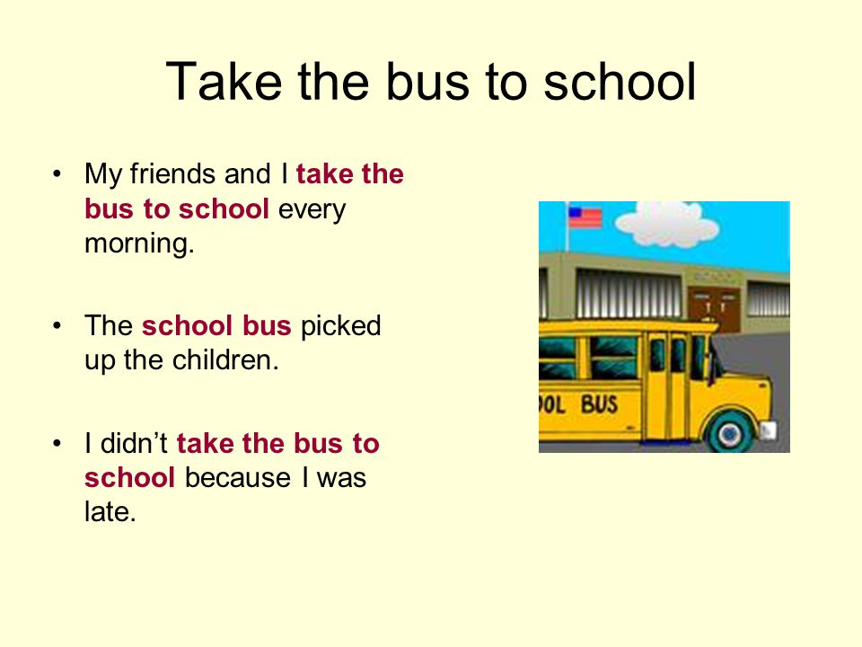 Take the bus to school My friends and I take the bus to school every morning.