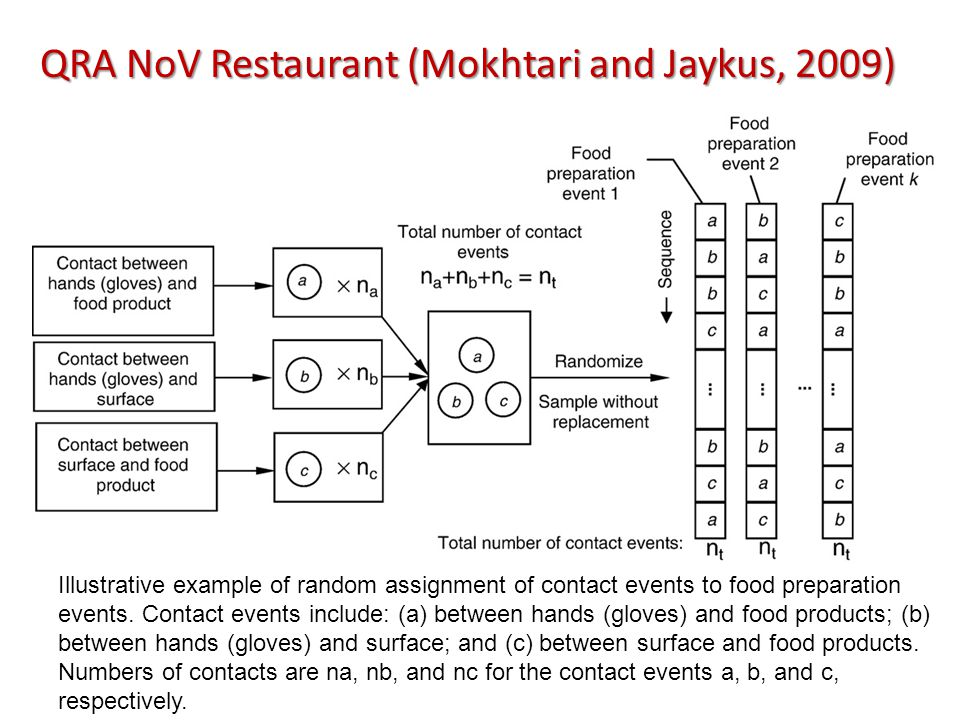 QRA NoV Restaurant (Mokhtari and Jaykus, 2009) Illustrative example of random assignment of contact events to food preparation events.