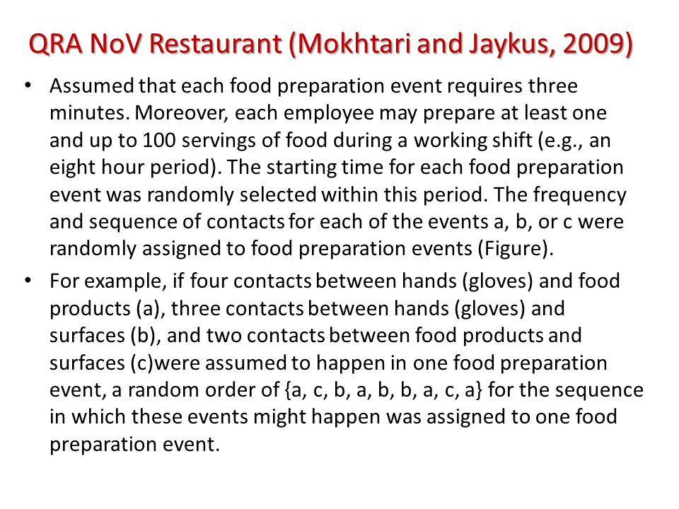 QRA NoV Restaurant (Mokhtari and Jaykus, 2009) Assumed that each food preparation event requires three minutes.