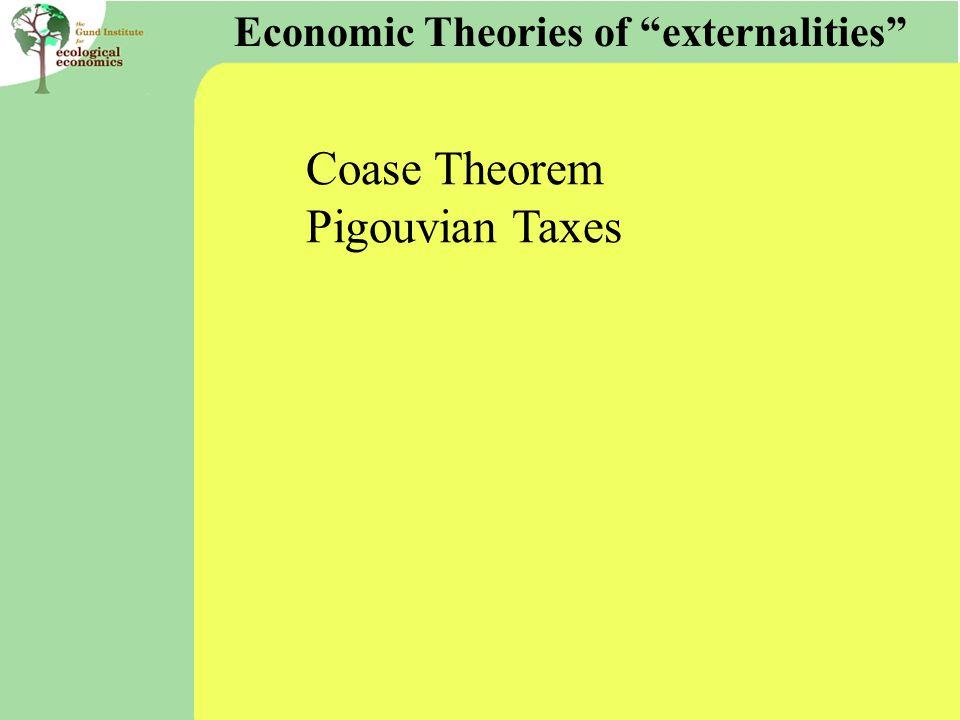 """Economic Theories of """"externalities"""" Coase Theorem Pigouvian Taxes"""