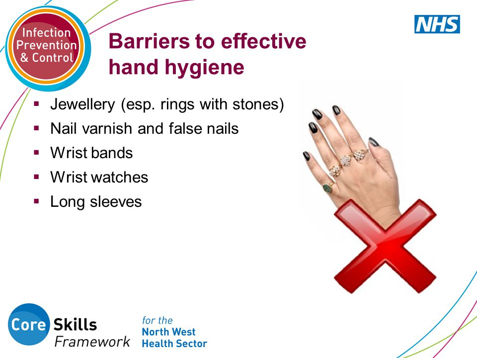 Barriers to effective hand hygiene  Jewellery (esp. rings with stones)  Nail varnish and false nails  Wrist bands  Wrist watches  Long sleeves