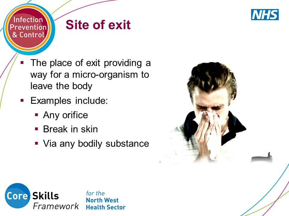 Site of exit  The place of exit providing a way for a micro-organism to leave the body  Examples include:  Any orifice  Break in skin  Via any bo