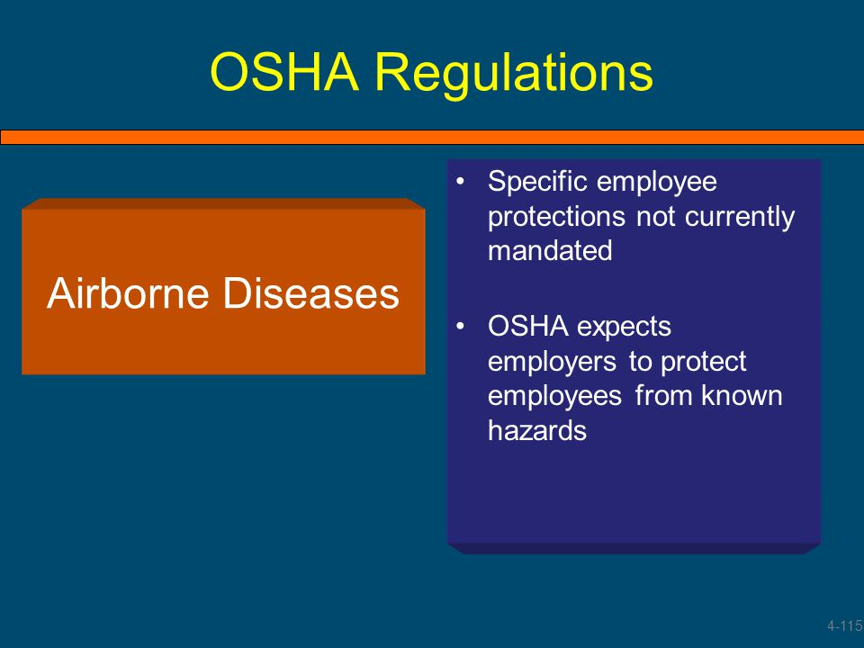 OSHA Regulations Specific employee protections not currently mandated OSHA expects employers to protect employees from known hazards Airborne Diseases