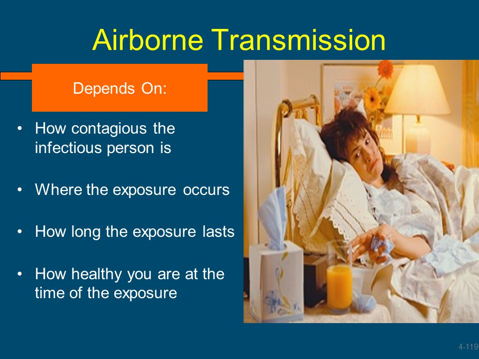 Airborne Transmission How contagious the infectious person is Where the exposure occurs How long the exposure lasts How healthy you are at the time of
