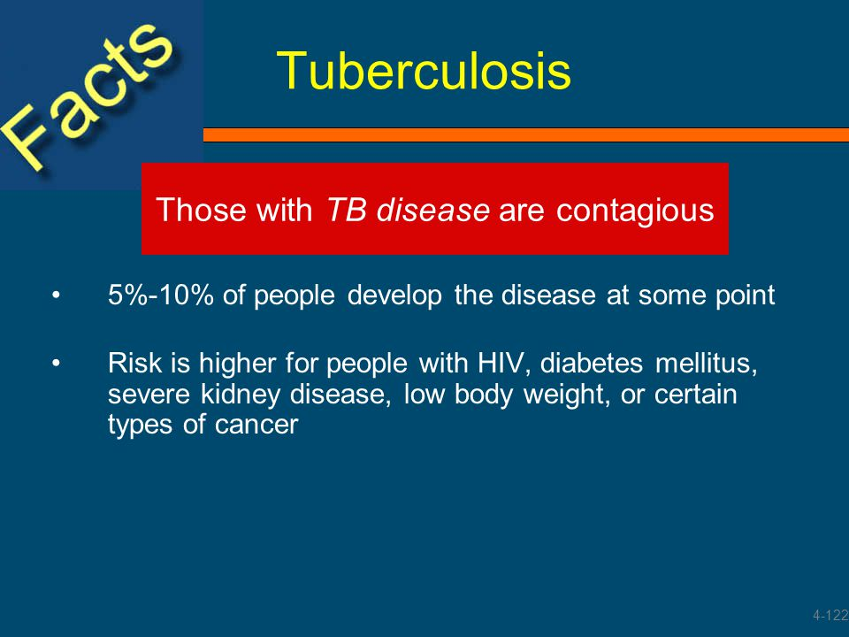 Tuberculosis 5%-10% of people develop the disease at some point Risk is higher for people with HIV, diabetes mellitus, severe kidney disease, low body
