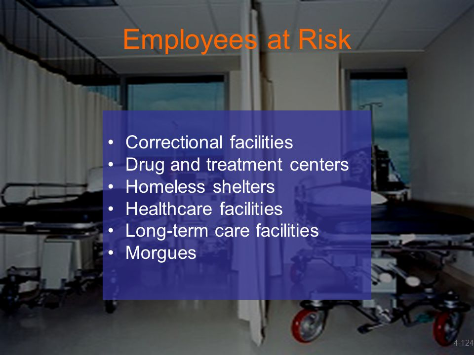 Employees at Risk Correctional facilities Drug and treatment centers Homeless shelters Healthcare facilities Long-term care facilities Morgues 4-124