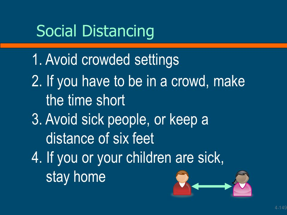1. Avoid crowded settings Social Distancing 2. If you have to be in a crowd, make the time short 3. Avoid sick people, or keep a distance of six feet