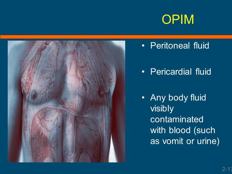 OPIM Peritoneal fluid Pericardial fluid Any body fluid visibly contaminated with blood (such as vomit or urine) 2-17