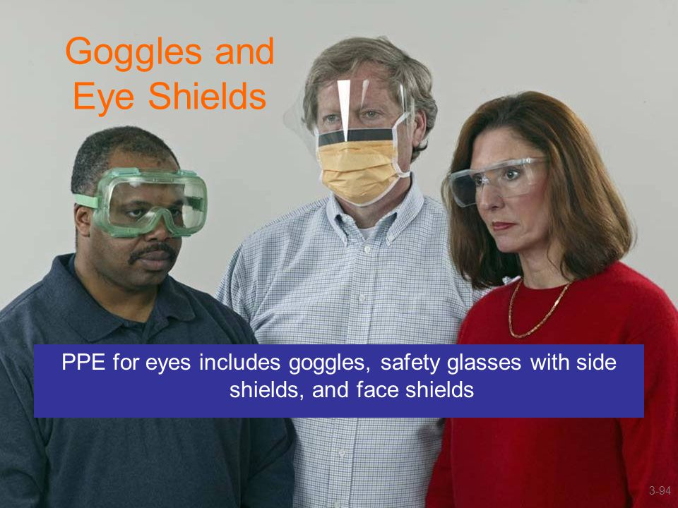 Goggles and Eye Shields PPE for eyes includes goggles, safety glasses with side shields, and face shields 3-94