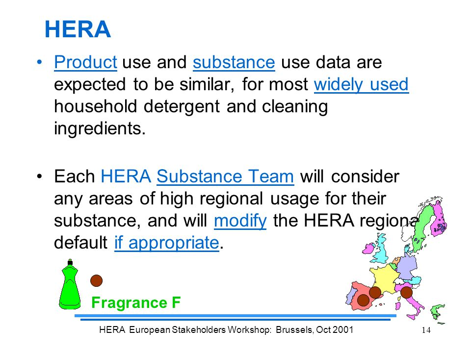 HERA European Stakeholders Workshop: Brussels, Oct 200114 Product use and substance use data are expected to be similar, for most widely used household detergent and cleaning ingredients.