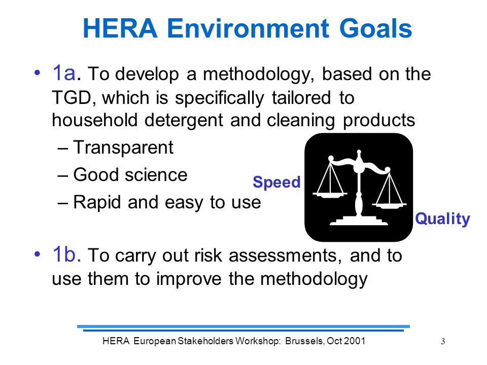 HERA European Stakeholders Workshop: Brussels, Oct 20014 HERA Environmental Risk Assessment starts with EU Technical Guidance Document for New and Existing substances EUSES HERA Environment Conclusions specific for  European Usage  AISE product categories