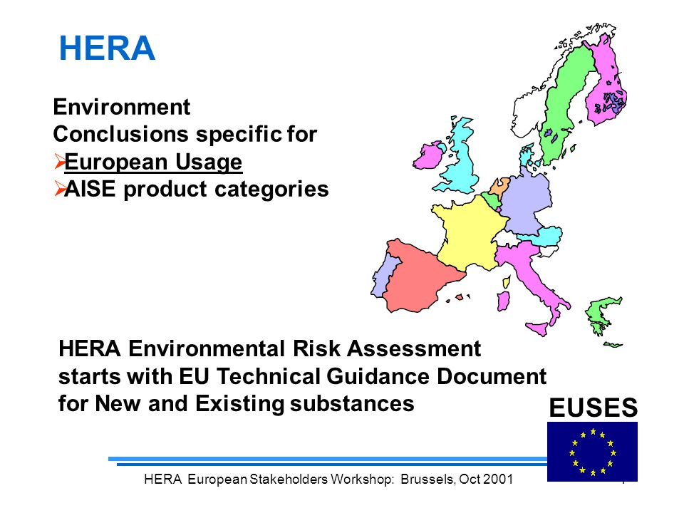 HERA European Stakeholders Workshop: Brussels, Oct 20014 HERA Environmental Risk Assessment starts with EU Technical Guidance Document for New and Existing substances EUSES HERA Environment Conclusions specific for  European Usage  AISE product categories