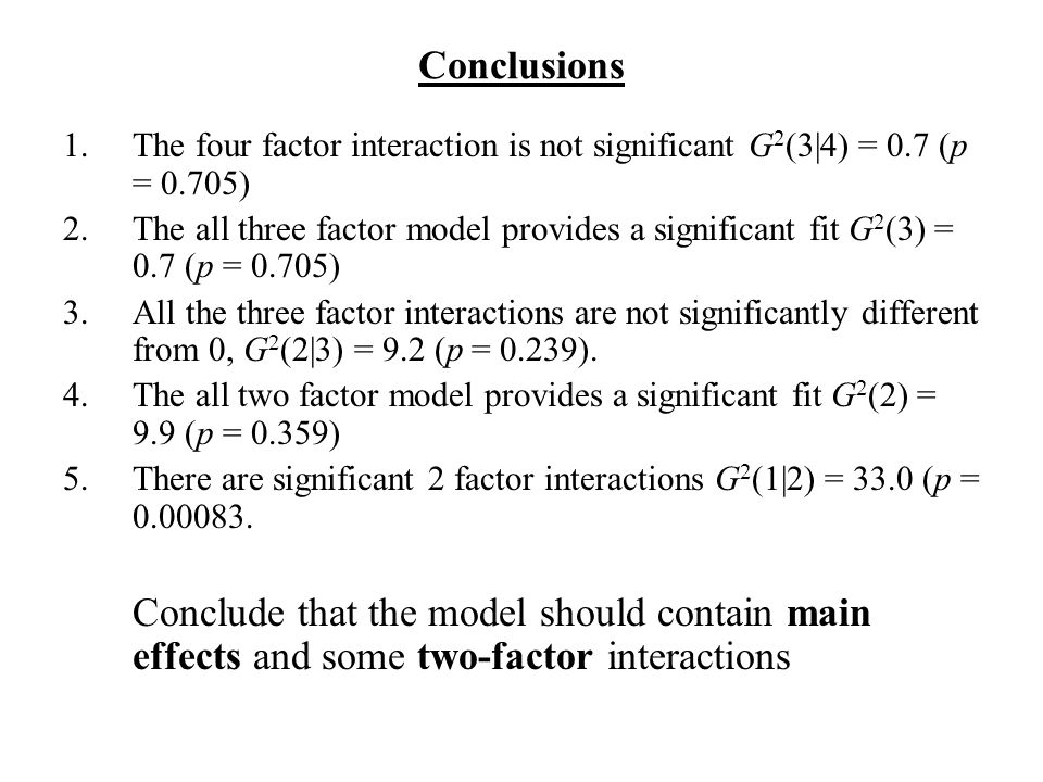 Conclusions 1.The four factor interaction is not significant G 2 (3|4) = 0.7 (p = 0.705) 2.The all three factor model provides a significant fit G 2 (3) = 0.7 (p = 0.705) 3.All the three factor interactions are not significantly different from 0, G 2 (2|3) = 9.2 (p = 0.239).