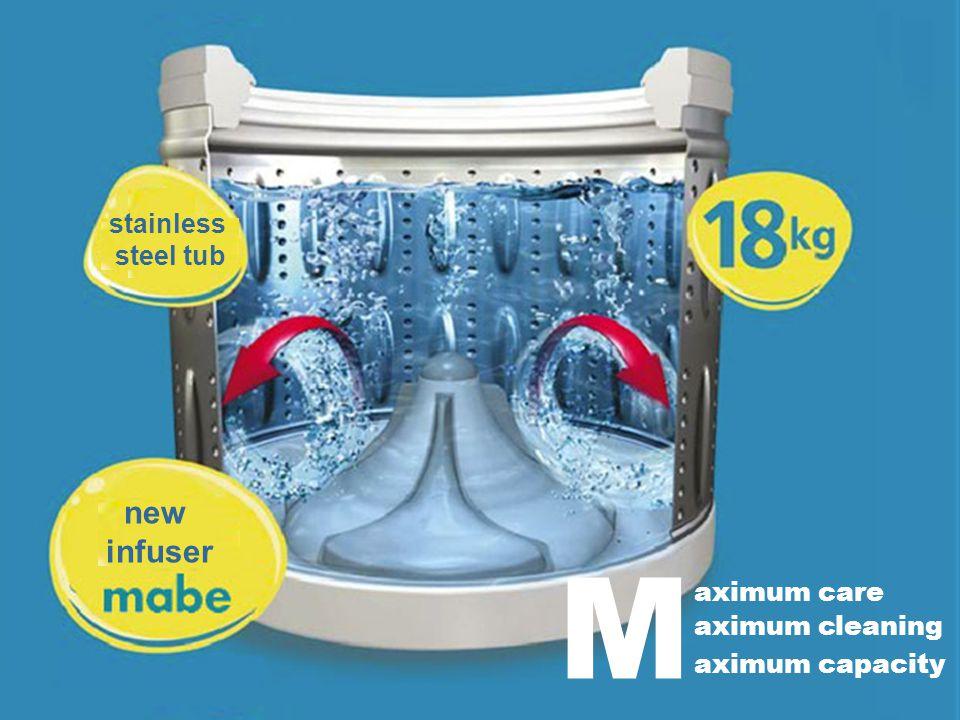 aximum care aximum cleaning aximum capacity M new infuser stainless steel tub