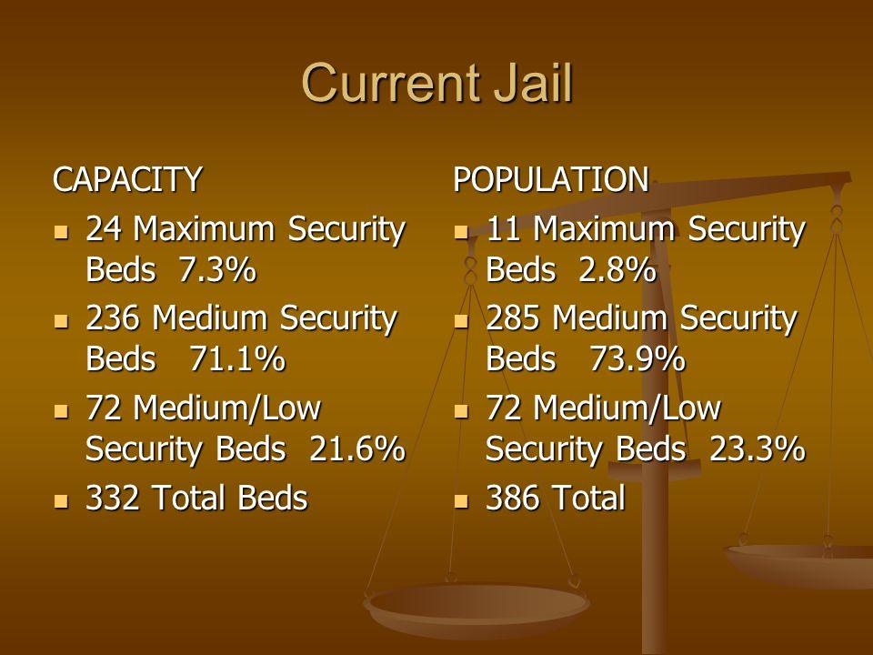 Current Jail CAPACITY 24 Maximum Security Beds 7.3% 24 Maximum Security Beds 7.3% 236 Medium Security Beds 71.1% 236 Medium Security Beds 71.1% 72 Medium/Low Security Beds 21.6% 72 Medium/Low Security Beds 21.6% 332 Total Beds 332 Total Beds POPULATION 11 Maximum Security Beds 2.8% 285 Medium Security Beds 73.9% 72 Medium/Low Security Beds 23.3% 386 Total