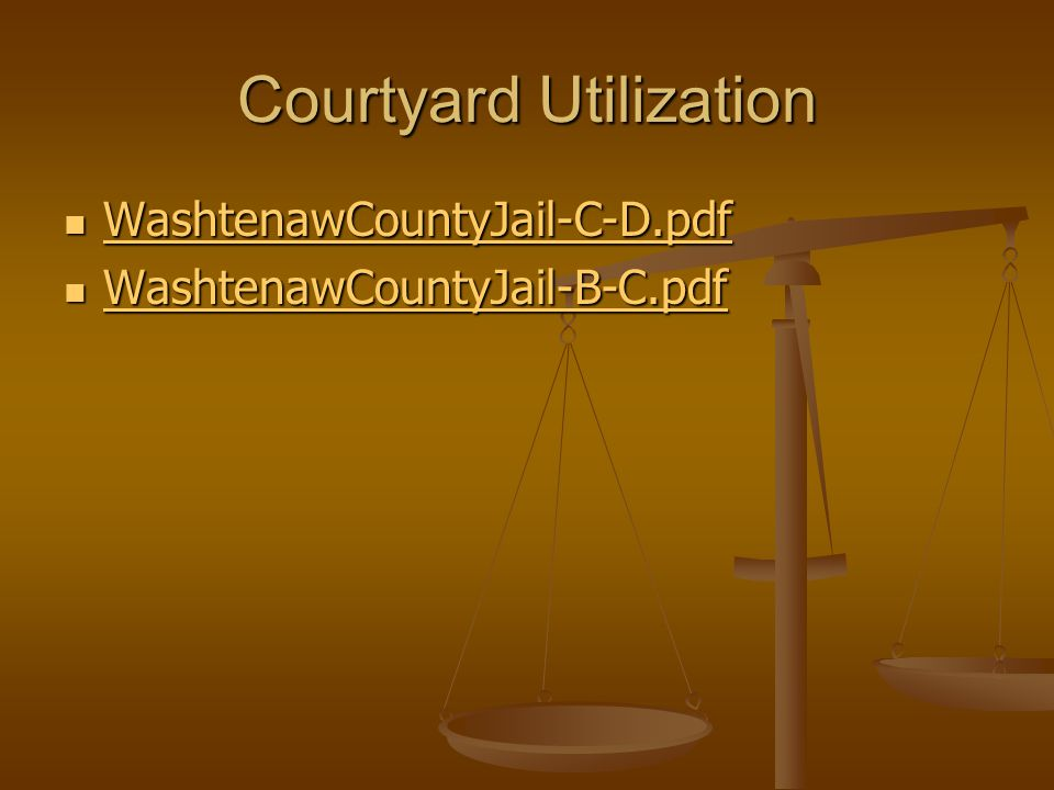Courtyard Utilization WashtenawCountyJail-C-D.pdf WashtenawCountyJail-C-D.pdf WashtenawCountyJail-C-D.pdf WashtenawCountyJail-B-C.pdf WashtenawCountyJail-B-C.pdf WashtenawCountyJail-B-C.pdf